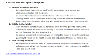 Best Man Speech Template In Image Form